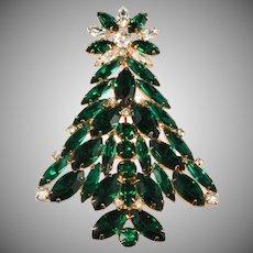 Eisenberg Ice Emerald Green Rhinestone Christmas Tree Pin Brooch