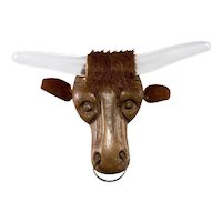 """Elzac Brooch Pin 4.75"""" LARGE Lucite Wood Steer Western Texas Longhorn 1940s Vintage"""