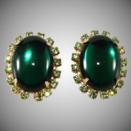 Emerald Cabochon and Peridot Rhinestone Earrings