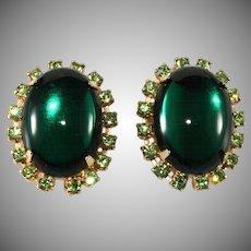 Emerald Cabochon and Peridot Rhinestone Earrings