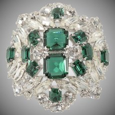 Unmarked Emerald Green and Clear Rhinestone Brooch Pin Vintage