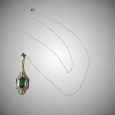 Emerald Green Art Deco Rhinestone Pendant Necklace