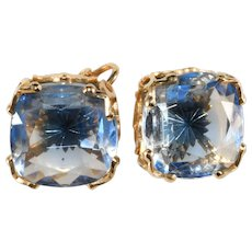 Emmons Blue Givre Star Glass Stone Earrings Vintage
