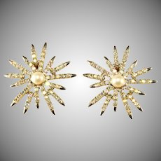 Emmons Starburst Earrings Iridescent Rhinestones Faux Pearl Vintage
