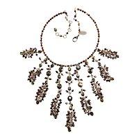 Erickson Beamon Necklace Red Bronze Bead Dangles Bib