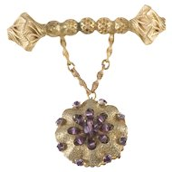 Eugene Purple Rhinestone Dangle Brooch Pin Vintage