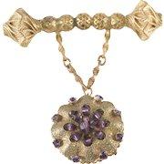 Eugene Purple Rhinestone Dangle Brooch Pin Vintage
