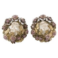 Eugene Pink Rhinestone Faux Pearl Earrings 1950s Vintage