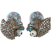 Eugene Turquoise Blue Clear Rhinestone Earrings Vintage