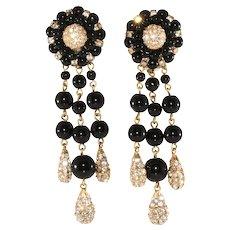 Francoise Montague Earrings French Black Beads Rhinestones Dangles Clip On