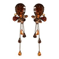 Francoise Montague Paris Rhinestone Dangle Earrings Brown and Amber