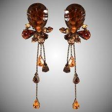Francoise Montague Paris Rhinestone Dangle Earrings Brown and Amber