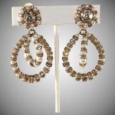 Francoise Montague Paris Lolita Faux Pearl Rhinestone Earrings