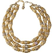 Francoise Montague Paris Filigree and Rhinestone Necklace Shannon