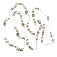 Francoise Montague Necklace LONG Rhinestones Faux Pearls Bead French Paris