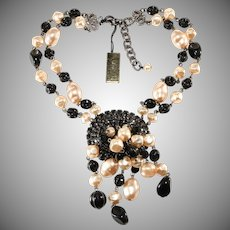 Francoise Montague Necklace Rhinestone Faux Pearl Black Bead Panache French