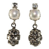 Francoise Montague Earrings Faux Pearls and Rhinestones Dangles Clip On