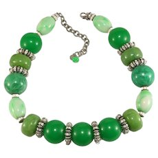 Francoise Montague Necklace Green Beads White Rhinestones French Vintage