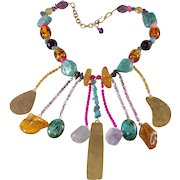 Philippe Ferrandis 1980s Colorful Dangle Bib Necklace