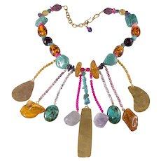 Philippe Ferrandis 1980s Colorful Dangle Bib Necklace