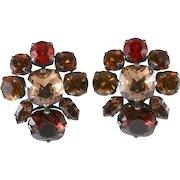 Philippe Ferrandis Brown Amber Orange Rhinestone Earrings