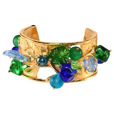 Philippe Ferrandis 1980s Blue and Green Bead Cuff Bracelet