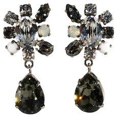 Philippe Ferrandis Earrings Gray Clear Rhinestones Drops Dangles French Paris