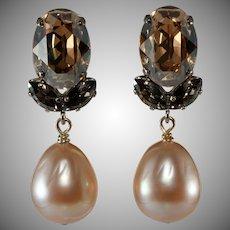 Philippe Ferrandis Rhinestone Dangle Earrings Champagne