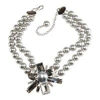 Philippe Ferrandis Necklace Rhinestone Starburst Gray Faux Pearls
