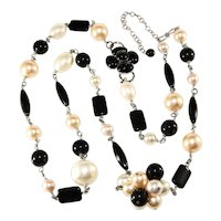 Philippe Ferrandis Necklace Sautior Faux Pearls Black Beads French