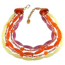 Philippe Ferrandis Necklace Orange Yellow Purple Stars Beads Vintage