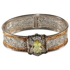 1920s J.J. White Filigree Yellow Rhinestone Hinged Bangle Bracelet