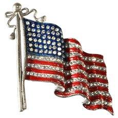 LARGE American Flag Pin Brooch Enameled Red White Blue and Rhinestones Patriotic Vintage