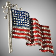 LARGE American Flag Pin Brooch Enameled Red White Blue and Rhinestones Patriotic Vintage