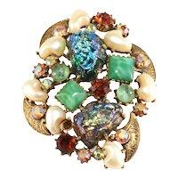 FLorenza Brooch Lava Rock Baby Tooth Faux Pearls Vintage Rhinestones
