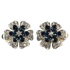 Flower Earrings Blue Clear Rhinestones Crown Mark