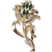 Flower Fur Pin Clip Brooch Green and Clear Rhinestones Vintage 1940s