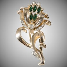 Flower Fur Pin Clip Brooch Green and Clear Rhinestones Vintage 1940s Coro