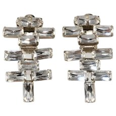 French Clear Dangle Rhinestone Earrings Vintage