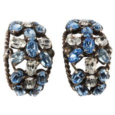 French Half Hoop Blue and Clear Rhinestone Earrings Clip