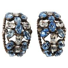 French Half Hoop Blue and Clear Rhinestone Earrings Clip