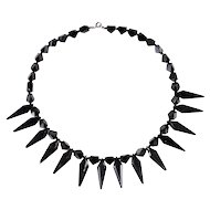 French Jet Black Glass Victorian Necklace 1890s
