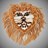 Lion Head Brooch Pin with Fringe Chain and Rhinestones