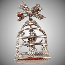 Birdcage Sterling Silver Brooch Pin Vintage 1940s Similar to Frank Gargano