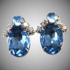 Garne' Earrings Blue Rhinestones Vintage 1950s
