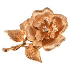 1960s Brushed Gold Plate and Clear Rhinestone Rose Flower Brooch