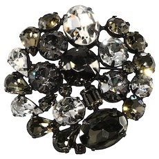 Gray and Clear Rhinestone Collage Brooch Pin Vintage