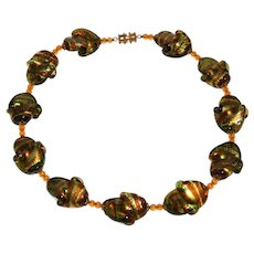 Foiled Glass Amber and Green Wavy Ruffled Beads Necklace