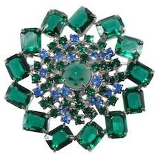 Green and Blue Rhinestones Brooch Pin Vintage