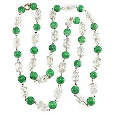 Necklace Glass Bumpy Beads Green Clear Vintage Beaded Strand